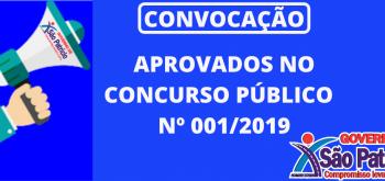 RELAÇÃO DE CONVOCADOS APROVADOS NO CONCURSO PÚBLICO Nº 001/2019